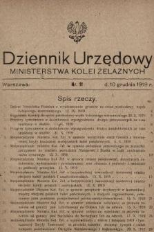 Dziennik Urzędowy Ministerstwa Kolei Żelaznych. 1919, nr11
