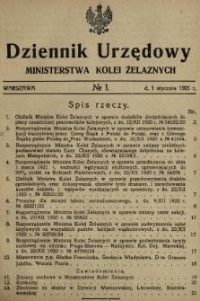 Dziennik Urzędowy Ministerstwa Kolei Żelaznych. 1921, nr1