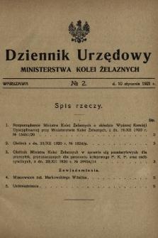 Dziennik Urzędowy Ministerstwa Kolei Żelaznych. 1921, nr2