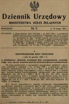 Dziennik Urzędowy Ministerstwa Kolei Żelaznych. 1921, nr5