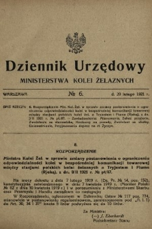 Dziennik Urzędowy Ministerstwa Kolei Żelaznych. 1921, nr6