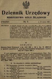 Dziennik Urzędowy Ministerstwa Kolei Żelaznych. 1921, nr9