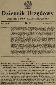 Dziennik Urzędowy Ministerstwa Kolei Żelaznych. 1921, nr17