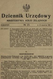 Dziennik Urzędowy Ministerstwa Kolei Żelaznych. 1921, nr23