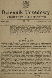 Dziennik Urzędowy Ministerstwa Kolei Żelaznych. 1921, nr28