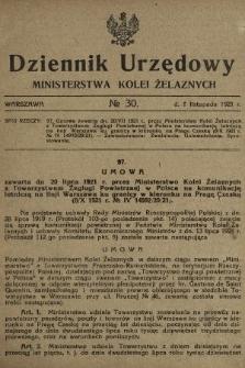 Dziennik Urzędowy Ministerstwa Kolei Żelaznych. 1921, nr30