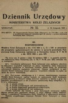 Dziennik Urzędowy Ministerstwa Kolei Żelaznych. 1921, nr32