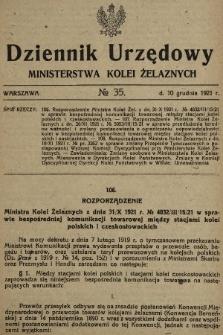 Dziennik Urzędowy Ministerstwa Kolei Żelaznych. 1921, nr35