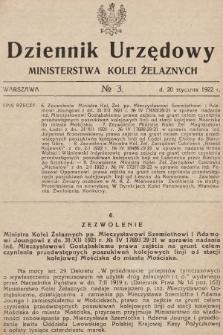 Dziennik Urzędowy Ministerstwa Kolei Żelaznych. 1922, nr3