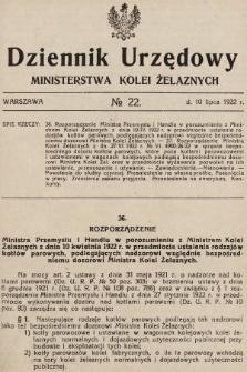 Dziennik Urzędowy Ministerstwa Kolei Żelaznych. 1922, nr22