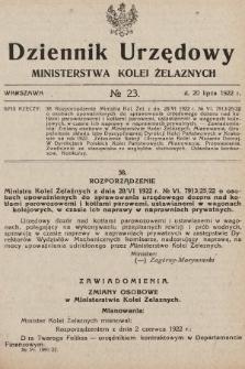 Dziennik Urzędowy Ministerstwa Kolei Żelaznych. 1922, nr23