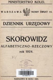 Dziennik Urzędowy Ministerstwa Kolei Żelaznych. 1924, skorowidz alfabetyczno-rzeczowy