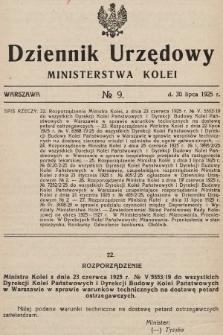 Dziennik Urzędowy Ministerstwa Kolei. 1925, nr9
