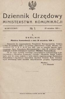 Dziennik Urzędowy Ministerstwa Komunikacji. 1926, nr1