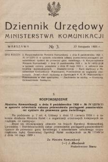 Dziennik Urzędowy Ministerstwa Komunikacji. 1926, nr3