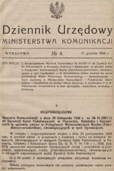 Dziennik Urzędowy Ministerstwa Komunikacji. 1926, nr4