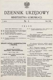 Dziennik Urzędowy Ministerstwa Komunikacji. 1928, nr4