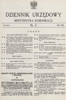 Dziennik Urzędowy Ministerstwa Komunikacji. 1928, nr5