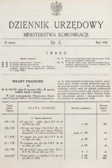 Dziennik Urzędowy Ministerstwa Komunikacji. 1928, nr6