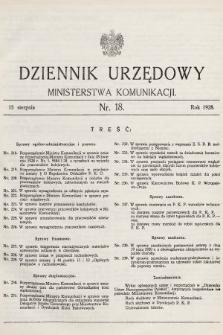 Dziennik Urzędowy Ministerstwa Komunikacji. 1928, nr18