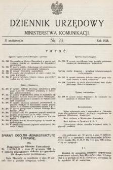 Dziennik Urzędowy Ministerstwa Komunikacji. 1928, nr23