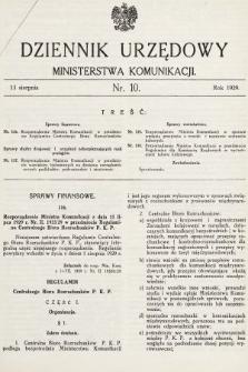 Dziennik Urzędowy Ministerstwa Komunikacji. 1929, nr10