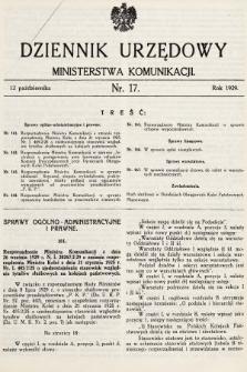Dziennik Urzędowy Ministerstwa Komunikacji. 1929, nr16