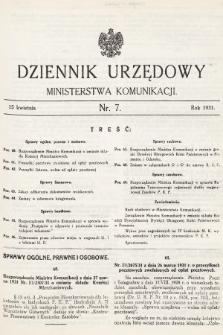 Dziennik Urzędowy Ministerstwa Komunikacji. 1931, nr7
