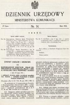 Dziennik Urzędowy Ministerstwa Komunikacji. 1931, nr14