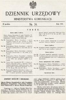 Dziennik Urzędowy Ministerstwa Komunikacji. 1931, nr24