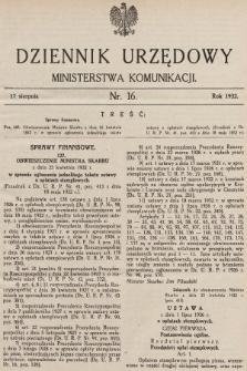 Dziennik Urzędowy Ministerstwa Komunikacji. 1932, nr16
