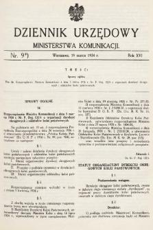 Dziennik Urzędowy Ministerstwa Komunikacji. 1934, nr9