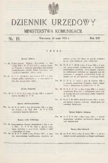 Dziennik Urzędowy Ministerstwa Komunikacji. 1934, nr18