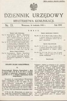 Dziennik Urzędowy Ministerstwa Komunikacji. 1935, nr13