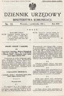 Dziennik Urzędowy Ministerstwa Komunikacji. 1935, nr35