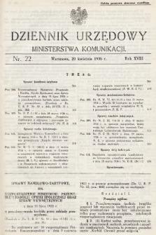 Dziennik Urzędowy Ministerstwa Komunikacji. 1936, nr22