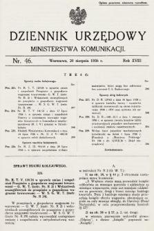Dziennik Urzędowy Ministerstwa Komunikacji. 1936, nr46