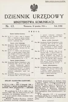 Dziennik Urzędowy Ministerstwa Komunikacji. 1936, nr63