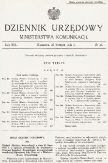 Dziennik Urzędowy Ministerstwa Komunikacji. 1937, nr36