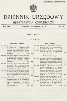 Dziennik Urzędowy Ministerstwa Komunikacji. 1937, nr40