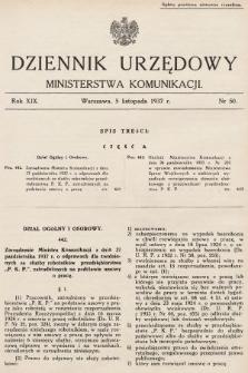 Dziennik Urzędowy Ministerstwa Komunikacji. 1937, nr50