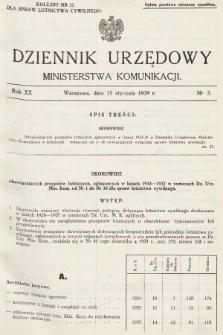 Dziennik Urzędowy Ministerstwa Komunikacji. 1938, nr3