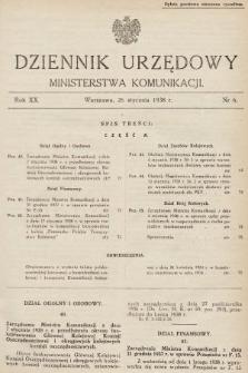Dziennik Urzędowy Ministerstwa Komunikacji. 1938, nr6
