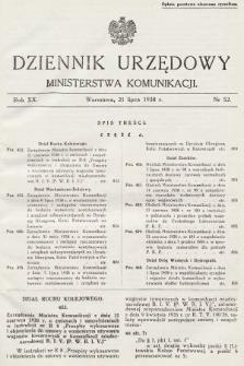 Dziennik Urzędowy Ministerstwa Komunikacji. 1938, nr52