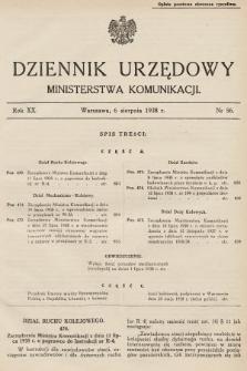Dziennik Urzędowy Ministerstwa Komunikacji. 1938, nr56