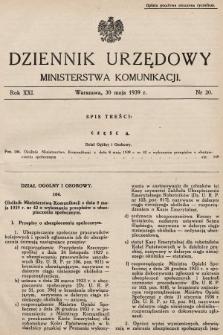Dziennik Urzędowy Ministerstwa Komunikacji. 1939, nr20
