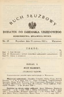 Ruch Służbowy : dodatek do Dziennika Urzędowego Ministerstwa Sprawiedliwości. 1931, nr 17