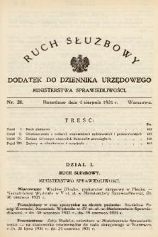 Ruch Służbowy : dodatek do Dziennika Urzędowego Ministerstwa Sprawiedliwości. 1931, nr 20