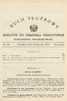 Ruch Służbowy : dodatek do Dziennika Urzędowego Ministerstwa Sprawiedliwości. 1931, nr 21