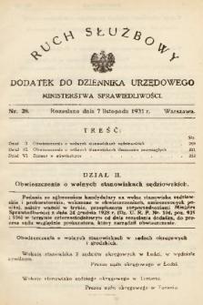 Ruch Służbowy : dodatek do Dziennika Urzędowego Ministerstwa Sprawiedliwości. 1931, nr 28